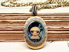 Frida In Blue And Purple - Oval Brass Locket Handmade Original Jewelry With Painting by Danita Art