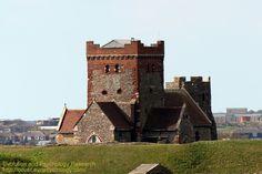 Dover Coronavirus Lockdown Blog UK: Unusual view of Saxon Church and Roman Pharos, Dov...