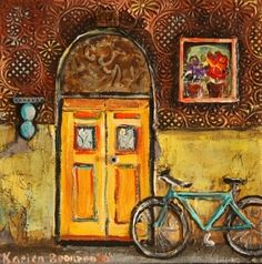 Yellow door Yellow Doors, House Art, Store Fronts, Decoupage, Windows, My Favorite Things, Artist, Painting, Printables