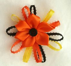 Check out this item in my Etsy shop https://www.etsy.com/listing/471379102/flower-bow-halloween-bow-handmade-silk