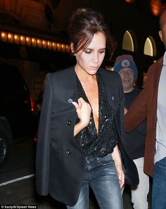 Taking the plunge: The talented fashion designer looked incredible in her sexy and stylish ensemble as she headed out for her dinner date