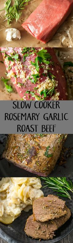 Slow Cooker Rosemary Garlic Roast Beef (make with stew beef)