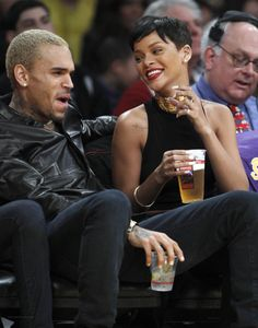 Rihanna street style candids 2013 x basketball game court side x chris brown