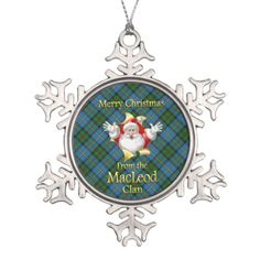 Scottish Clan MacLeod Christmas Snowflake Ornament