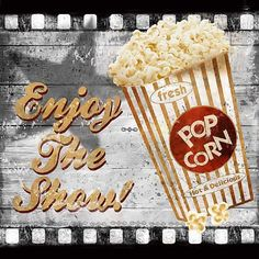 Enjoy the Show by Conrad Knutsen Media Room Sign Art Print Framed Picture Popcorn Posters, Food Posters, Art Posters, Kino Party, At Home Movie Theater, Poster S, Movie Themes, Retro, Framed Art Prints