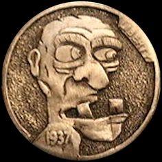 JOEY BLAYLOCK HOBO NICKEL - CRAZY OLD MAN - 1937 BUFFALO NICKEL Hobo Nickel, Guided Meditation, Buffalo, Arrow, Cactus, Coins, Carving, Sculpture, Money