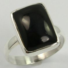 Natural BLACK ONYX Gemstone 925 Solid Sterling Silver Ring Size US 7.75 Exporter #Unbranded Sterling Silver Jewelry, Gold Jewelry, Blue Topaz Necklace, Silver Jewellery Indian, Black Onyx Ring, Silver Stacking Rings, Gemstones, Natural, Kerala