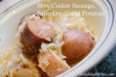 Slow Cooker Sausage with Kraut & Potatoes