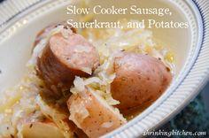 Slow Cooker Sausage, Sauerkraut, and Potatoes #shrinkingkitchen #healtier