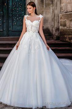 crystal design bridal 2016 sleeveless illusion boat sweetheart neckline heavily embellished bodice princess a line ball gown wedding dress sheer back royal train (pilar) mv