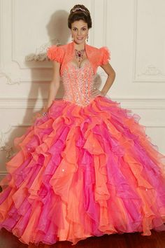 With Jecket Ruffles Beaded Sweetheart Long Strapless Orange Quinceanera Dresses In Phoenix Az