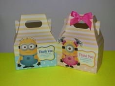 Hey, I found this really awesome Etsy listing at https://www.etsy.com/listing/238100535/minion-favor-boxes-girl-minion-gable