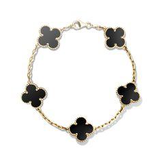 Vintage Alhambra bracelet, 5 motifs,Gold - Front View - VCARA41300 - Van Cleef & Arpels