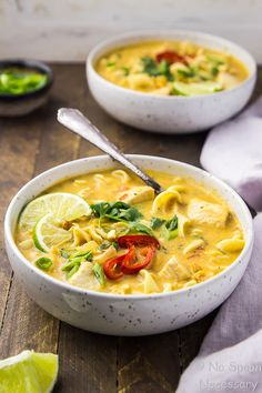 Slow Cooker Thai Style Chicken Noodle Soup | No Spoon Necessary