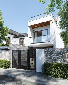 Minimal House Design, Modern Small House Design, Modern Minimalist House, Narrow House Designs, House Balcony Design, 2 Storey House Design, House Front Design, Small House Exteriors, Dream House Exterior