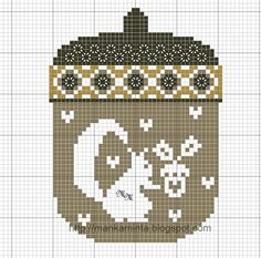 free cross-stitch acorn chart... no color chart available, just use the pattern chart as your color guide.. or choose your own colors...