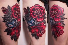 #rose #diamond #tattoo #neotraditional #crystal #heart #girly