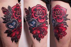 #rose #diamond #tattoo #neotraditional #crystal #heart #girly