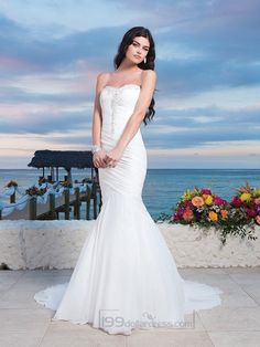 Chiffon Center Bodice Ruched Asymmetrical Mermaid Wedding Gown With A Lace Up Back