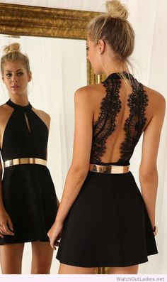 Little Black Dress with gold belt