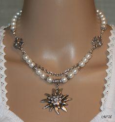 Perlen-Halskette mit Edelweiß von Edelweiss51 auf Etsy