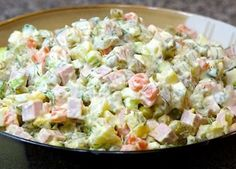 I love this salad. It is one of the best Russian dishes ever. I love this salad. It is one of the best Russian dishes ever. Russian Salad Recipe, Russian Potato Salad, Russian Dishes, Russian Recipes, Olivier Salad, Salad Dishes, Salads, Ceviche, Calories