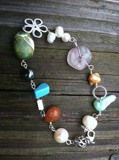 Flower and Stones Bracelet by NikkiMac on Etsy, $39.00