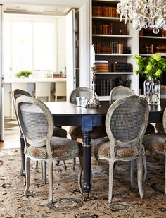 Built-In Bookshelves In Dining Area: Magnificent and well-preserved national romance with a French touch -