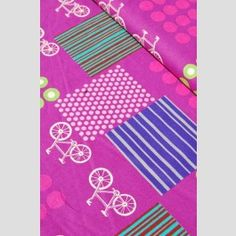 Bicycles Purple - Echino fabric by Etsuko Furuya