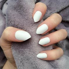 Doobys short Stiletto Nails White Matte 24 Claw Point False Nails ($24) ❤ liked…