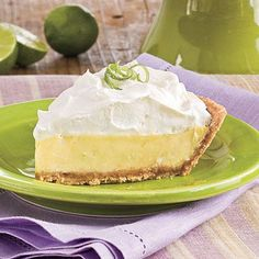 Key Lime Pie | This slice of tropical heaven offers the best of both worlds—rich, creamy texture with fewer fat grams. Don't be tempted to substitute bottled lime juice—it doesn't compare to fresh. | SouthernLiving.com