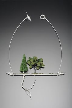 Necklace | Sarah Hood. 'Underneath It All'. Sterling silver, model railroad landscape materials. 2010