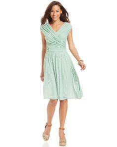 Charter Club Cap-Sleeve Printed Faux-Wrap Midi Dress on shopstyle.com