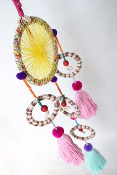 5 Rings Tassels Round Hanging w Large Tassels, Beads, Shells, Pom Pom, Dream Catcher, Baby Crib, Embroidery, Pink, Yellow, Turquoise, Orbs