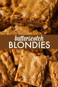 Butterscotch Blondies – Each bite is sweet, chewy and full of delicious butterscotch flavour. The pecans add a little crunch. Read Full Article Here by pinkwhen Best Dessert Recipes, Easy Desserts, Sweet Recipes, Delicious Desserts, Bar Recipes, Yummy Food, Butterscotch Blondie Recipe, Butterscotch Blondies, Brownie Recipes