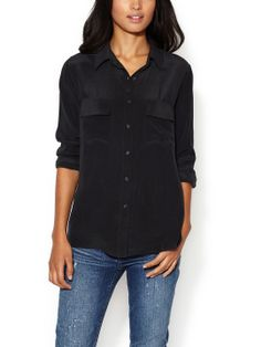 Washed Silk Two Pocket  Blouse by Zoe & Sam at Gilt