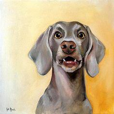 "Roux Roux the Weimaraner Oil on Canvas 15"" x 15"" www.juliepfirsch.com School Portraits, Pet Portraits, Positive Images, Weimaraner, Dog Art, Oil On Canvas, Artsy, Inktober, Wolves"