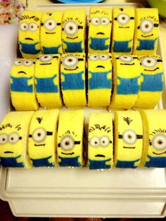 Minions, Swiss roll minion cakes. Yum!!!!