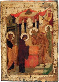 Праздничный чин (Троицкий собор, Троице-Сергиева лавра) (1425-1427) (Мастерская Рублёва) 3. Сретение (87.5 х 66 см)
