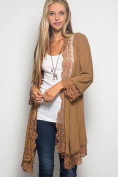 Crochet Trim Kimono in Camel
