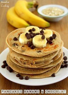 Pancakes banane et chocolat, riches en protéines