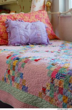 Pretty pink patchwork quilt