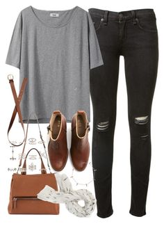 """""""Outfit with ripped jeans for college"""" by ferned on Polyvore featuring rag & bone, Acne Studios, H&M, Givenchy, New Look and Jennifer Meyer Jewelry"""