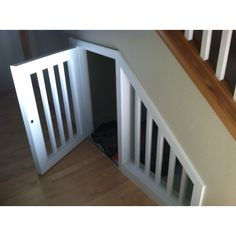 Large dog house under stairs to save space with big kennels!!!!