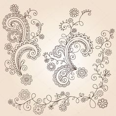 Hand-Drawn Flowers, Leaves, and Vines Abstract Paisley Henna Mehndi Paisley Floral Tattoo Doodle- Vector Illustration Design Elements