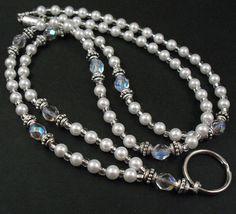 ID Lanyard - White Glass Pearl and Aurora Borealis Crystal Glass Beaded ID Badge Holder, ID Necklace Pearl Jewelry, Beaded Jewelry, Jewelery, Handmade Jewelry, Beaded Necklace, Silver Bracelets, Beaded Bracelets, Lanyard Necklace, Beaded Lanyards