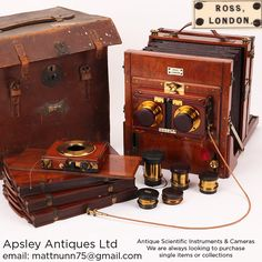 an exceptional half plate stereo camera outfit by Ross, London, English circa 1870. The camera is constructed of solid French polished mahogany with lacquered brass fittings. It's constructed in the traditional tailboard style with a fold down bed at the back. The construction is of the very best quality with all of the screw head slots aligned and fine cut dovetail joints to the corners