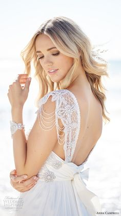 anna campbell 2017 bridal cap sleeves scoop neck heavily embellished bodice romantic bohemian empire wedding dress ribbon back sweep train (grace) zbv -- Anna Campbell 2017 Wedding Dresses Anna Campbell Bridal, Robes Country, Vestidos Country, Boho Wedding Dress, Wedding Dresses, Wedding Beach, Wedding Bride, Lace Wedding, Bohemian Bride