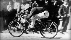 Racing the Ducati Cucciolo in 1947.
