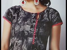 Front Boat Neck Designs with Foam Button and Piping Chudidhar Neck Designs, Neck Designs For Suits, Sleeves Designs For Dresses, Neckline Designs, Fancy Blouse Designs, Blouse Neck Designs, Salwar Neck Patterns, Salwar Neck Designs, Churidar Designs